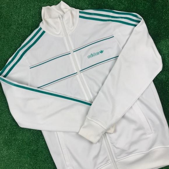 Men vintage adidas whitegreen stripes trackjacket